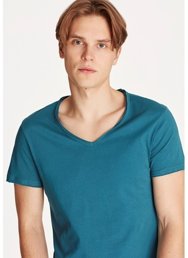 Mavi V Yaka Yeşil Basic Tişört Taş